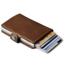 Men's Leather Aluminium Wallet with Back Pocket