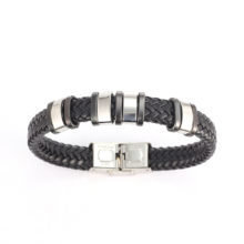 Men's Leather Bracelets with Metal Cuff
