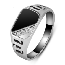 Men's Fashion Black Enamel Finger Ring