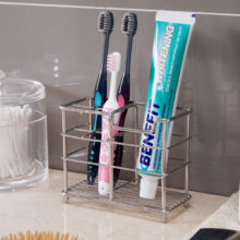 Stainless Steel Double Toothbrush Holder