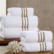 Snow White Striped Bath Towel