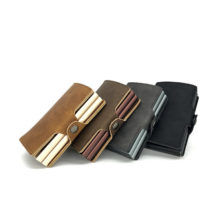 CaseKey Hot! Automatic Aluminium ID Credit Card Holder Multifunction Men Double Alloy Hasp Leather Business ID Cards Case Wallet