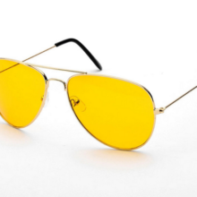 Men's Retro Style Sunglasses with Large Yellow Lenses