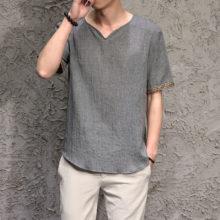 Boho Style Embroidery Linen Men's T-Shirt