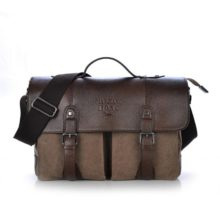 Men's Stylish Canvas Shoulder Bag with Leather Cover