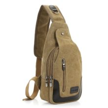 Men's Compact Canvas Crossbody Bag with Leather Insets