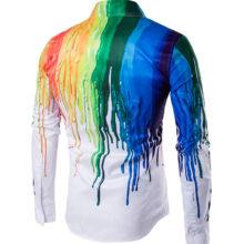 Colorful Paint Splash Printed Party Men's Shirt