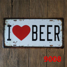 I Love Beer Printed Metal Sign for Bar Decor