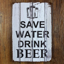Save Water Drink Beer Tin Sign for Bar Decor