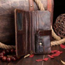 Vintage Genuine Leather Long Wallet for Men